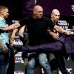 Dustin Poirier reacciona a la actitud de Conor McGregor durante la conferencia de prensa